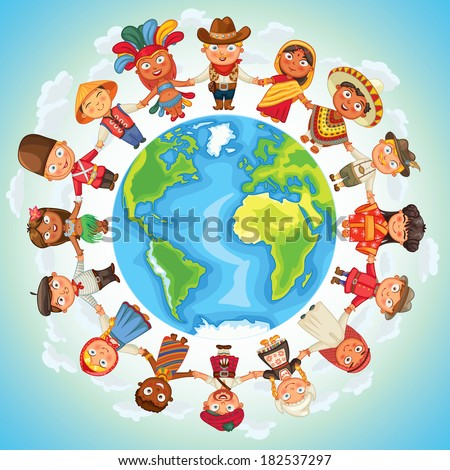 Multicultural character on planet earth cultural diversity traditional folk costumes. Different culture standing together holding hands. Unity people from around the world. Vector illustration - stock vector