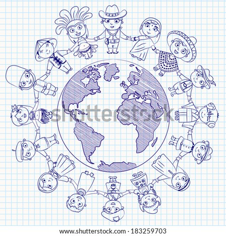 Multicultural character on planet earth cultural diversity traditional folk costumes. Different culture standing together holding hands. Unity people from around the world. - stock vector