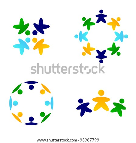 Multicultural colorful teams connecting together icons - stock vector
