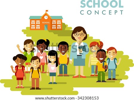Multicultural students group and teacher on school building background in flat style - stock vector