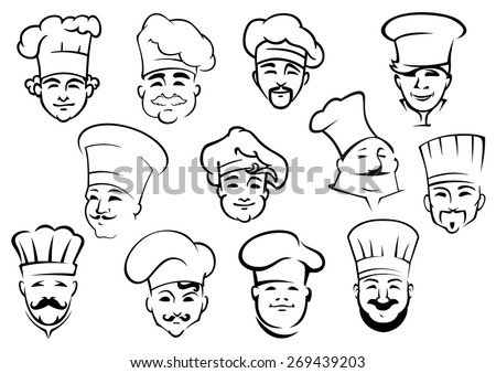 Multiethnic chefs in professional uniform toques in doodle sketch style suitable for kitchen staff of restaurant design - stock vector