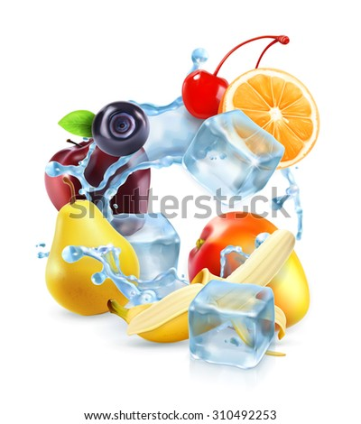 Multifruit with ice cubes and water splash, vector icon - stock vector