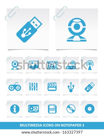 Multimedia Icon on Notepaper 3. - stock vector