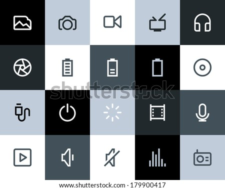 Multimedia icons. Flat style - stock vector
