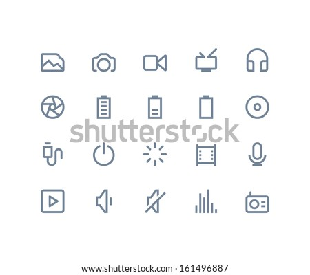 Multimedia icons. Line series - stock vector