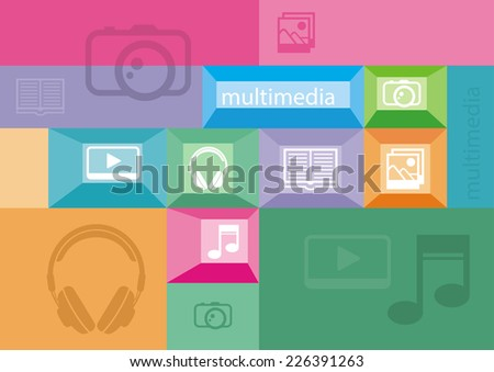 Multimedia icons of user interface elements on colored background - stock vector