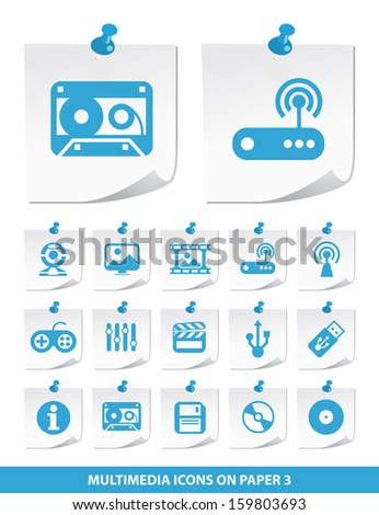 Multimedia Icons on Stick Notes 3. - stock vector