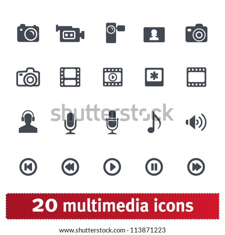 Multimedia icons: photo, video, music vector set - stock vector