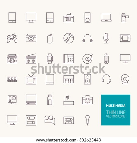 Multimedia Outline Icons for web and mobile apps - stock vector