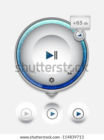 Multimedia player UI tooltip. Detailed vector illustration - stock vector