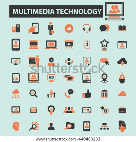 multimedia technology icons - stock vector