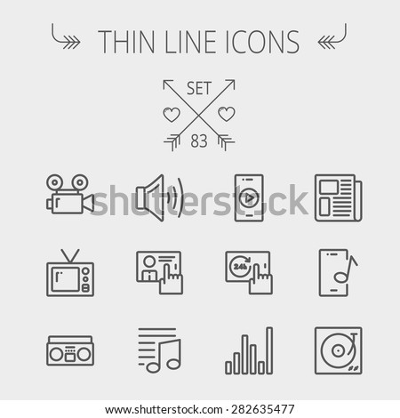 Multimedia thin line icon set for web and mobile. Set includes- speaker volume, notes, knob for volume, equalizer, television, cassette player, newspaper, phonograph icons. Modern minimalistic flat - stock vector