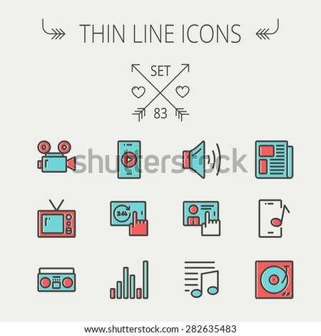 Multimedia thin line icon set for web and mobile. Set includes - speaker volume, notes, knob for volume, equalizer, television, cassette player, newspaper, phonograph icons. Modern minimalistic flat - stock vector