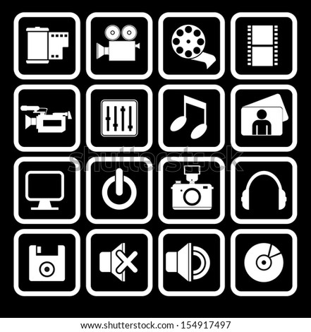Multimedia Web Icons - stock vector