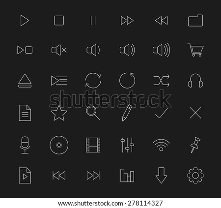 Multimedia white line art digital icons. Vector symbols isolated on black - stock vector