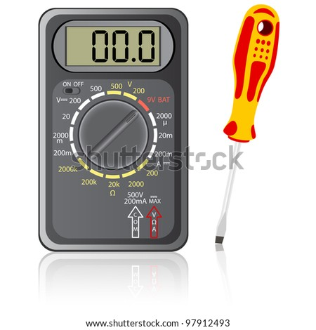 Multimeter of black color and screwdriver on a white background. Rasterized version also available in portfolio. - stock vector