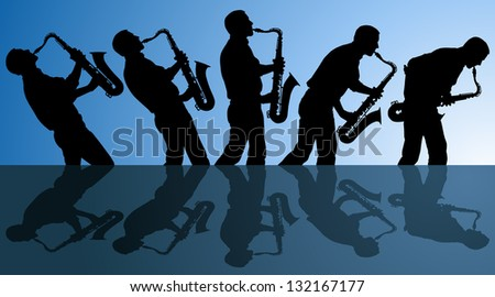 multiple angles of man playing the blues on a saxophone. EPS file is AI10 with blends in background. - stock vector