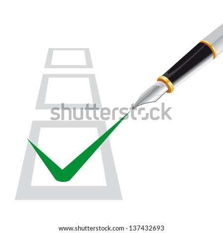multiple choice test with a pen  that writes in the checked box - stock vector