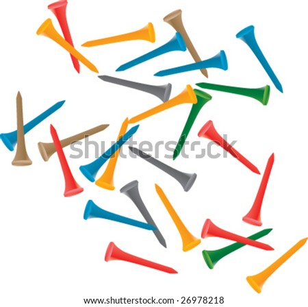multiple colored golf tees - stock vector