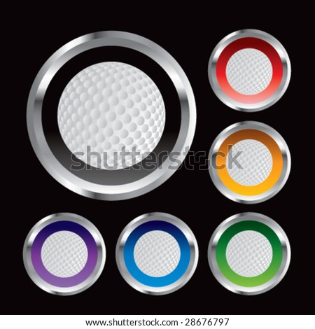 multiple colored round metal  golf balls - stock vector