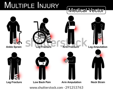 Multiple injury set ( Ankle sprain, Leg fracture, Arm fracture, Leg amputation, Leg broken , Low back pain, Arm amputation, Neck strain , arthritis ) Vector Medical stick man, physical therapy concept - stock vector