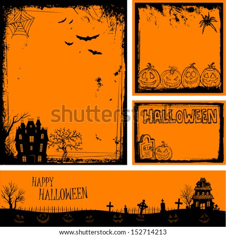 Multiple orange Halloween banners and backgrounds eps 10 - stock vector