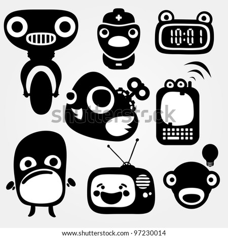 Multiple separated mechanic creatures - stock vector
