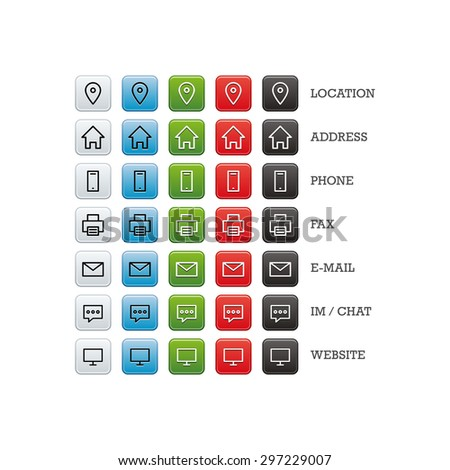 Multipurpose business card set of web icons for business, finance and communication. Vector graphic template isolated on white background. - stock vector