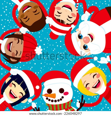 Multiracial group of happy smiling children with Santa Claus and Snowman holding hands together in circle - stock vector