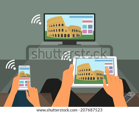Multiscreen interaction. Man and woman are participating in TV show using smartphone and tablet pc - stock vector