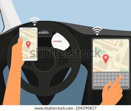 Multiscreen interaction. Synchronization of smartphone and smartcar - stock vector