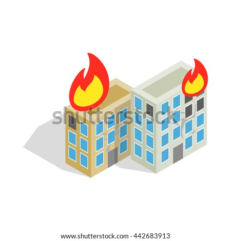 Multistory houses burn, modern war icon in isometric 3d style on a white background - stock vector