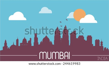 Mumbai India skyline silhouette flat design vector illustration - stock vector