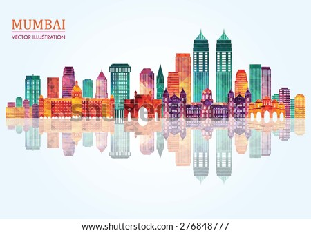 Mumbai skyline silhouette. Vector illustration - stock vector