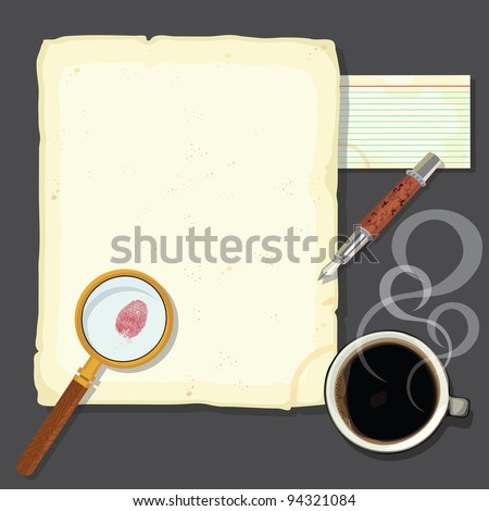 Murder mystery detectives desk with steaming coffee. Great for a murder mystery party or a crime novel party. - stock vector