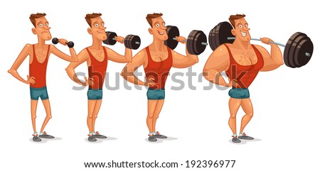 Muscle building from a weakling to a steep pitching. Gradual development. Funny cartoon character. Vector illustration. Isolated on white background. Set - stock vector