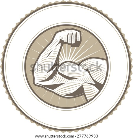 Muscle Flex Label - stock vector