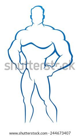 Muscle man - Bodybuilder. Vector illustration - stock vector