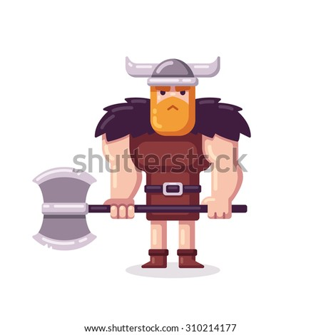 Muscular cartoon viking with axe in flat vector style. - stock vector