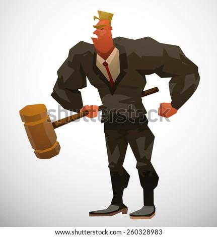 Muscular Lawyer, vector - stock vector