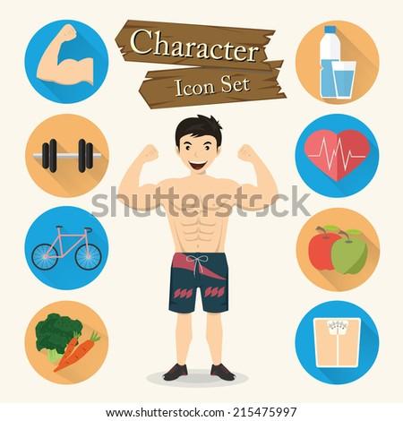 Muscular man character Icon set vector - stock vector