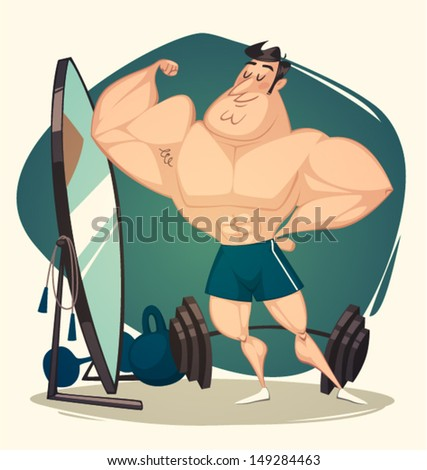 Muscular man. Vector illustration. - stock vector