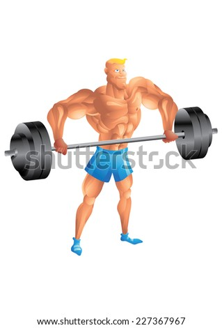Muscular white guy weightlifting - stock vector