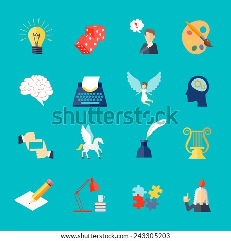 Muse and art inspiration icon flat set with pegasus lightbulb dice isolated vector illustration - stock vector