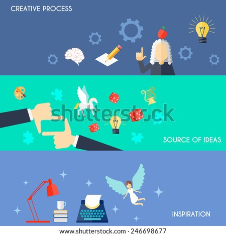 Muse flat horizontal banner set with creative process source of ideas inspiration elements isolated vector illustration - stock vector