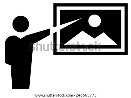 Museum docent icon - stock vector
