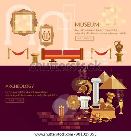 Museum horizontal banner ancient civilizations science exposition vector illustration - stock vector