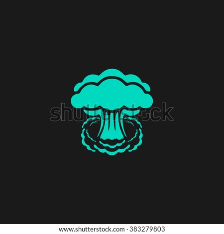 Mushroom cloud, nuclear explosion, silhouette. Flat simple modern illustration pictogram. Collection concept symbol for infographic project and logo - stock vector