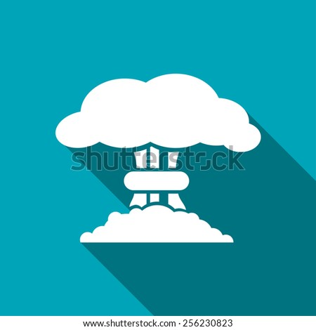 Mushroom cloud, nuclear explosion, silhouette, vector - stock vector