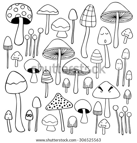 Mushroom doodle hand drawn sketch illustration black and white